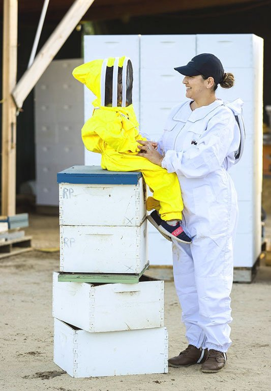 Family Owned Beekeeper Suit with Child